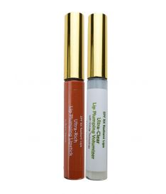 Radiant Lips: Hyaluronic Lip Plumping Lipstick (Burnt Sienna + Clear)